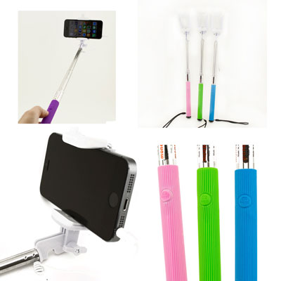 extendable wired selfie stick remote shutter handheld monopod iphone samsung lot. Black Bedroom Furniture Sets. Home Design Ideas