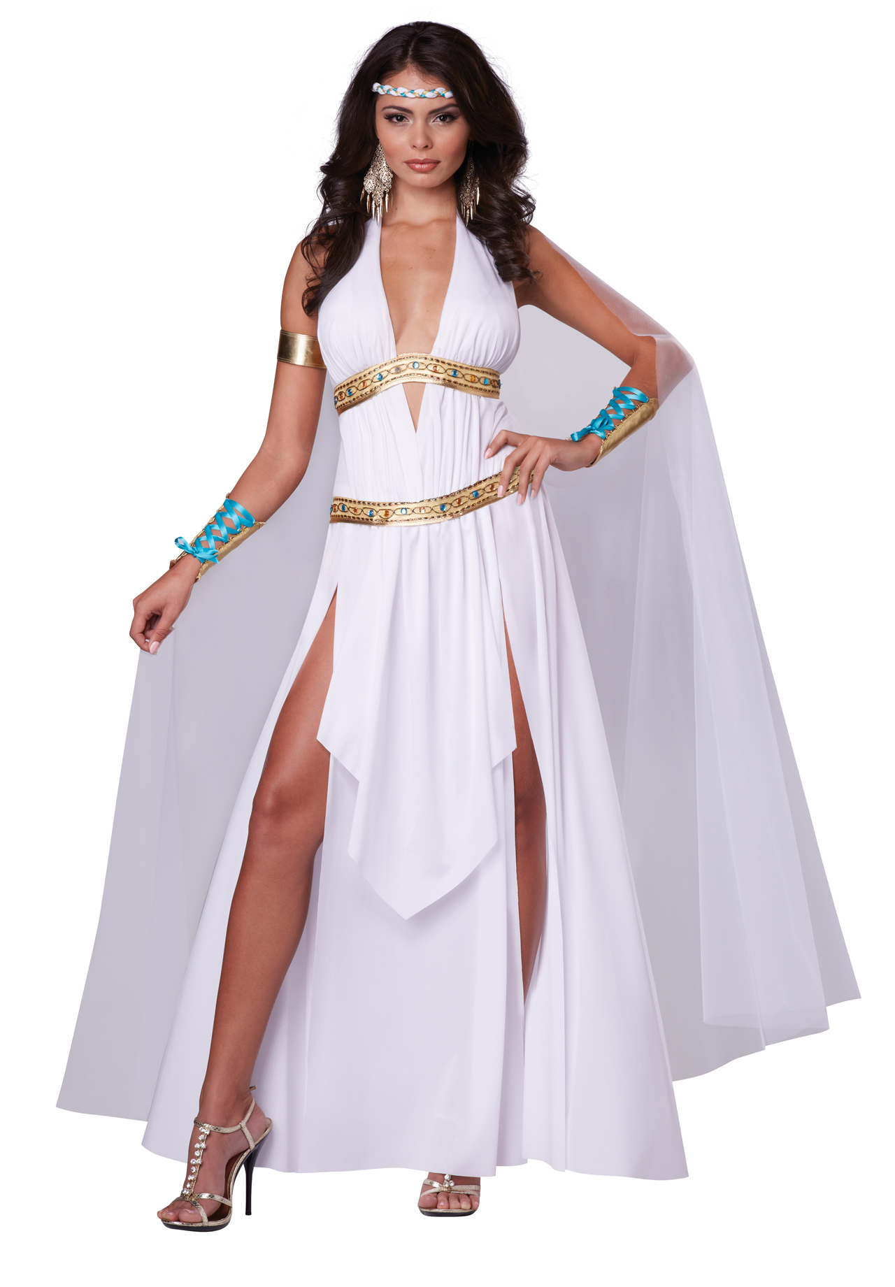 women glorious roman empire greek goddess full halloween costume set dress cape