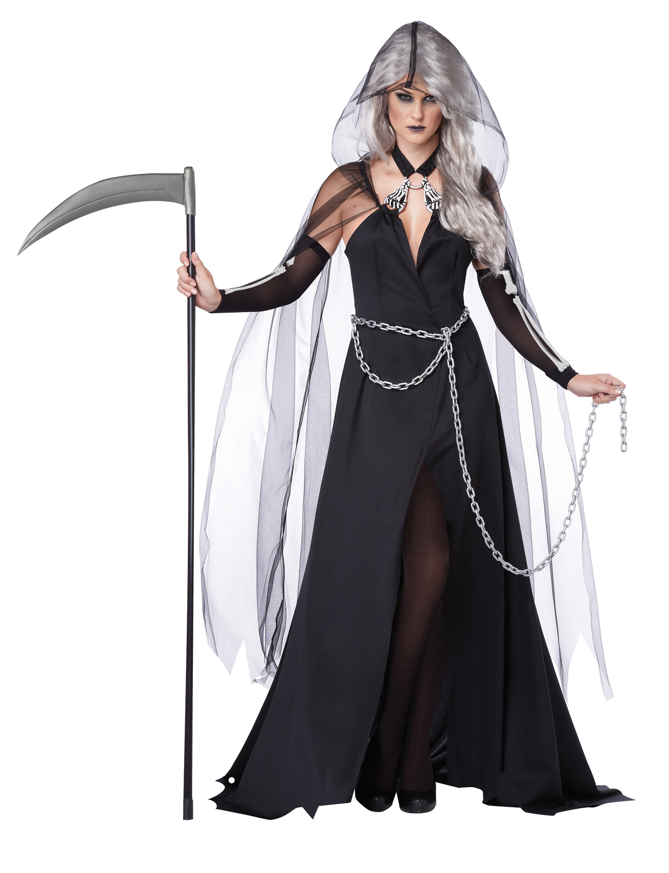 adult women's grim reaper halloween costume death killer dress cape