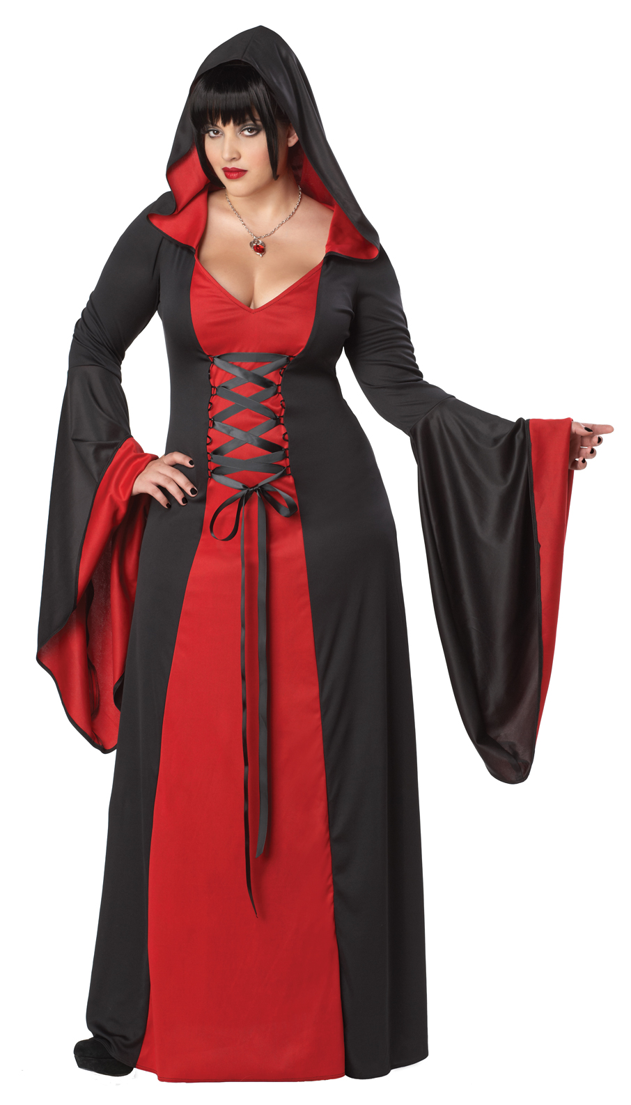 Plus Regular Deluxe Hooded Robe Red Purple Black Halloween Costume V&ire Dress  sc 1 st  eBay & Womenu0027s Deluxe Hooded Robe Vampire Witch Halloween Costume Dress | eBay
