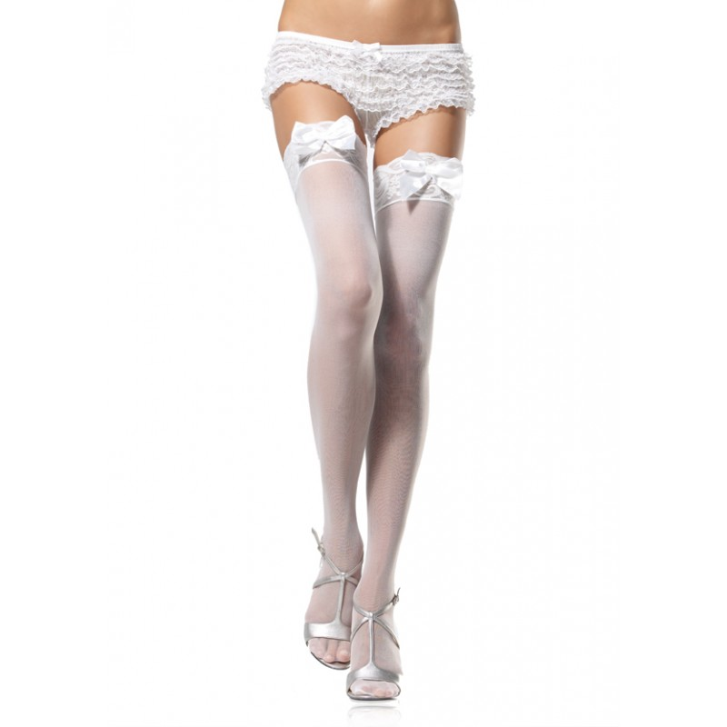 a57aed3c910 Women s Sexy Sheer Opaque Lace Top Satin Bow Thigh Highs Halloween Costume  O S
