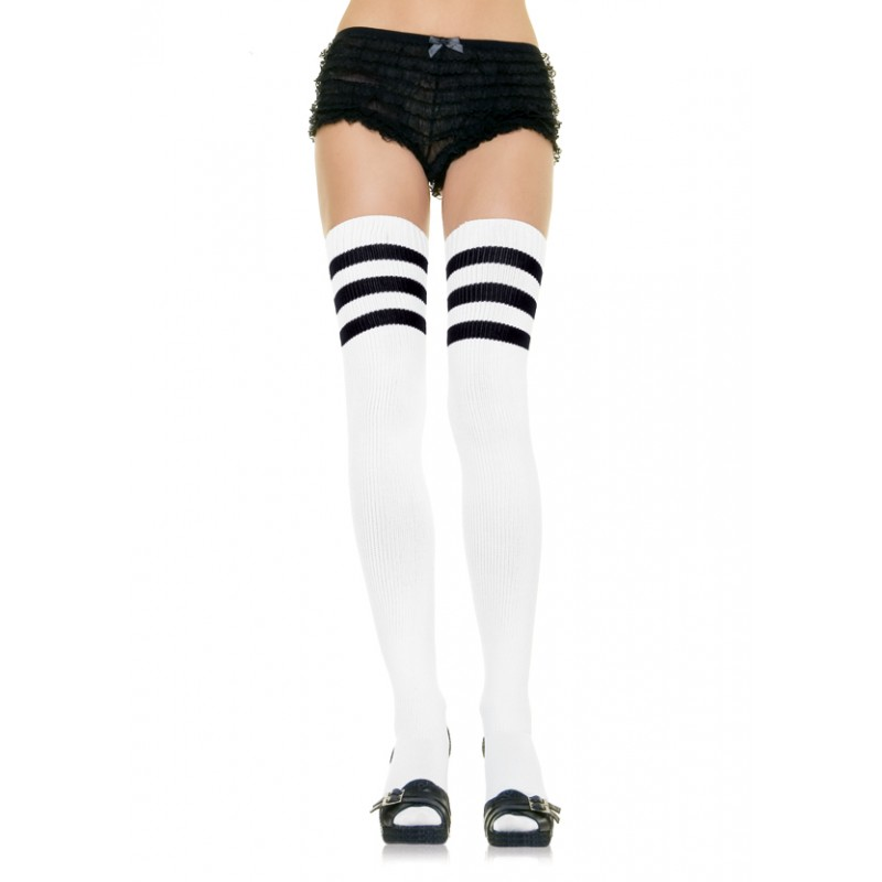 88c9f73b8 Leg Avenue Women s Black White Stripe Athletic Thigh High Socks Referee  Halloween Costume
