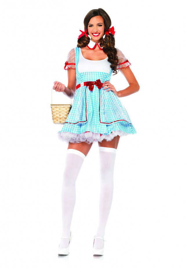 womens wizard of oz dorothy beauty halloween costume mini dress and collar set