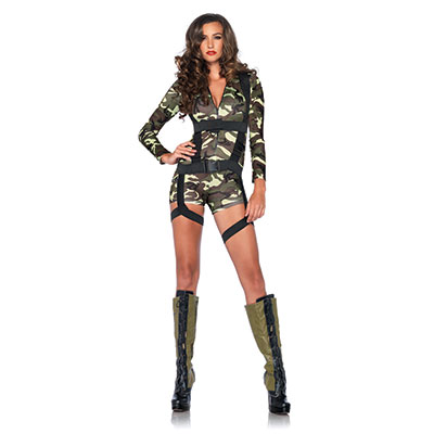 womens goin commando army camouflage halloween costume romper harness military