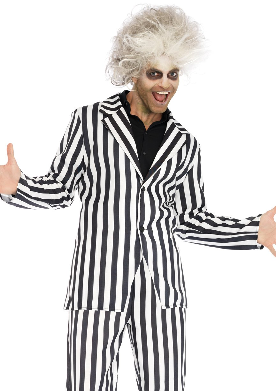 mens 2pc beetle boss black and white suit beetlejuice halloween