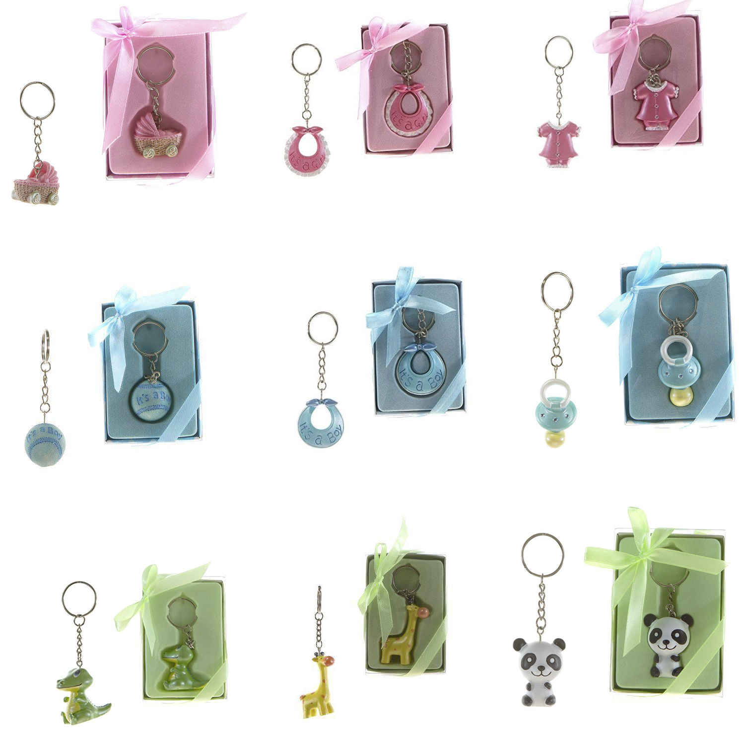 6pc Baby Shower Keepsake Keychain Favors Boy Girl Party Decorations ...