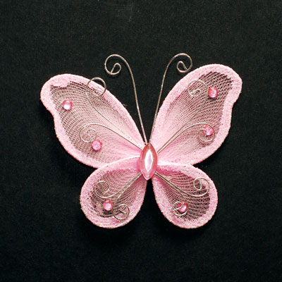 3 Quot Sheer Nylon Crystal Wire Butterfly W Rhinestones Party