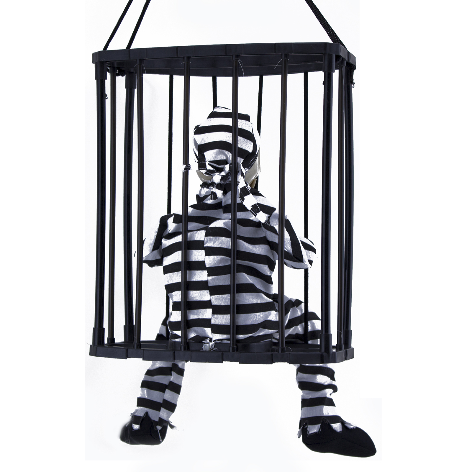 Haunted House Motion Sensor Light Up Talking Skeleton Prisoner Cage Ebay