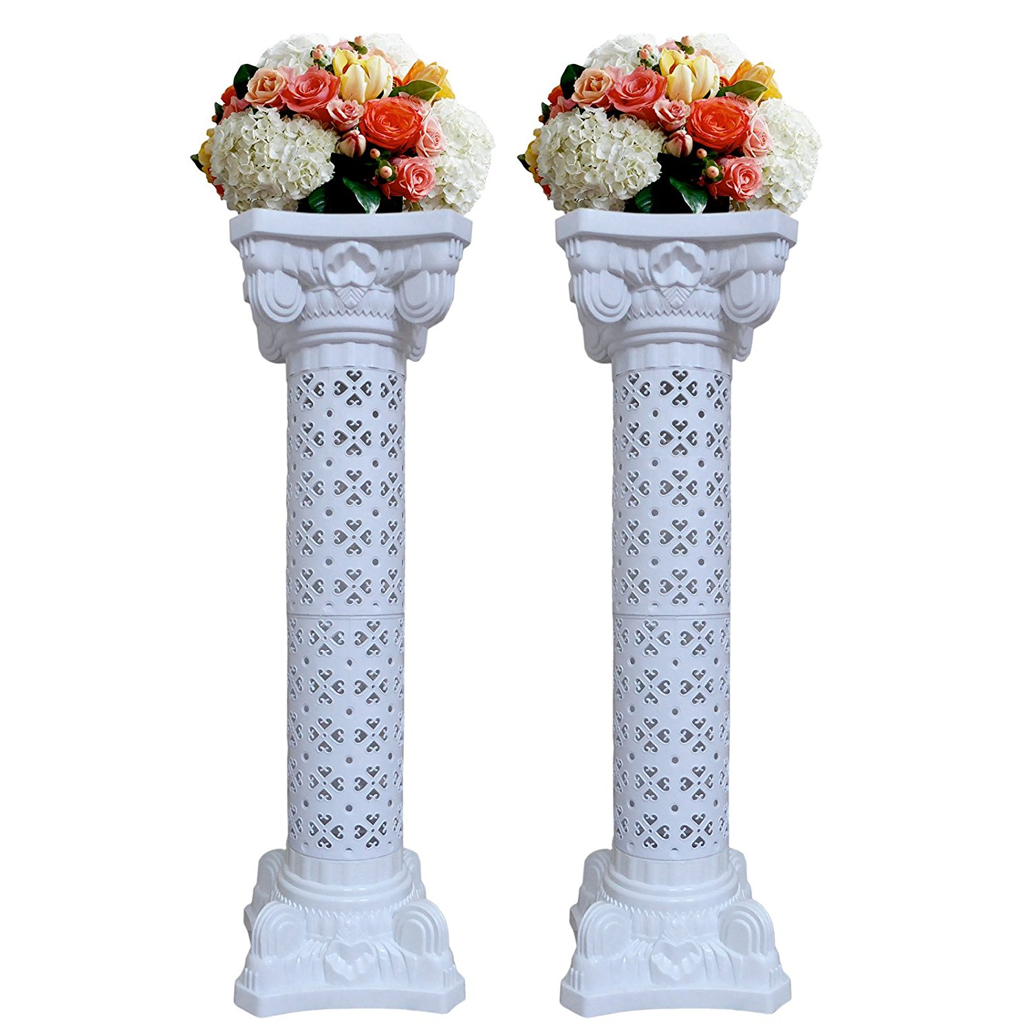 "White Wedding Columns Roman Venue Decorations 40"",53"",66"