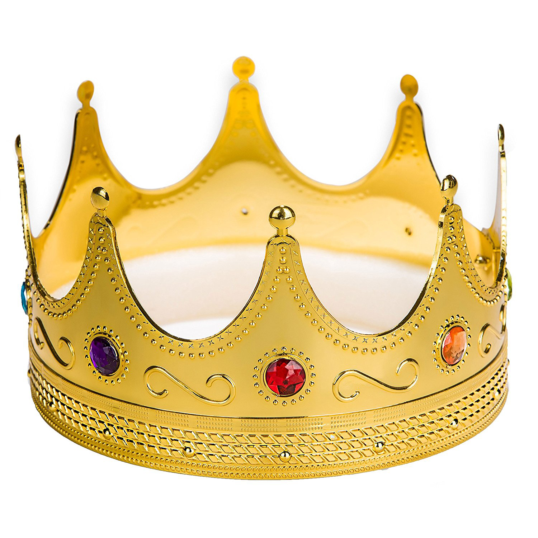 Gold Plastic King Crown Hat Regal Prince Medieval