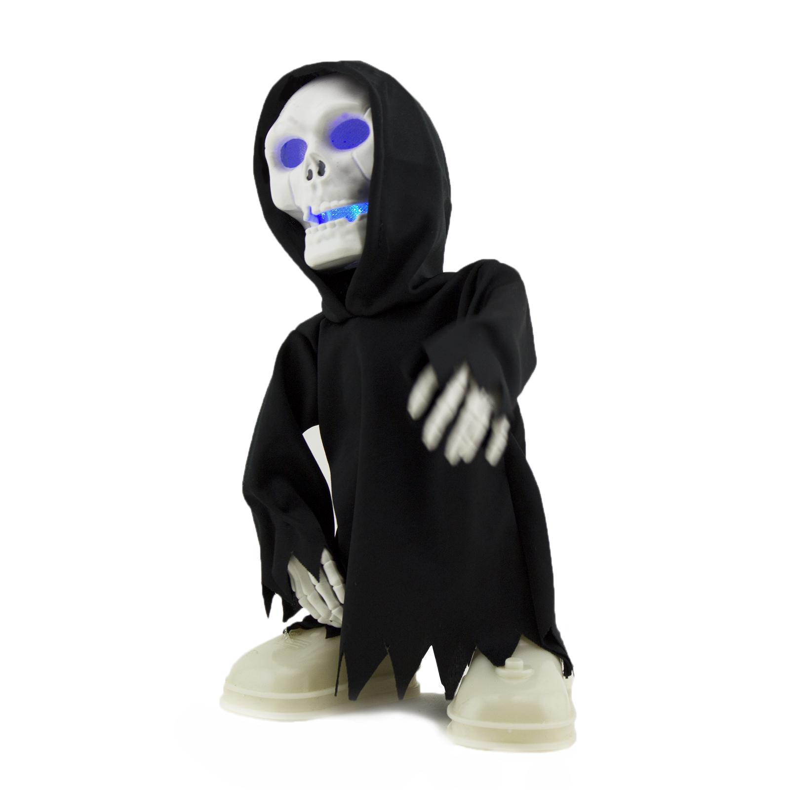 walking talking light up grim reaper animated skeleton halloween decoration eyes ebay