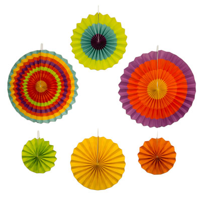 New 6pc assorted paper fiesta fans cinco de mayo for 5 de mayo party decoration