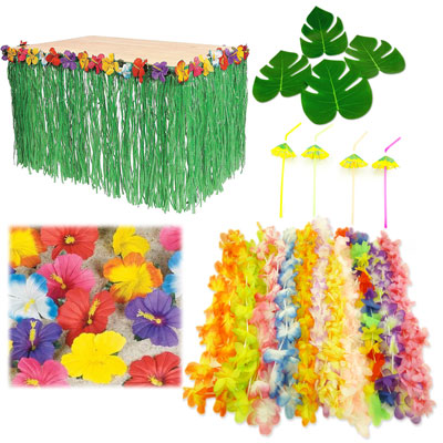 hawaiian luau party event bundle hibiscus table skirt straw lei