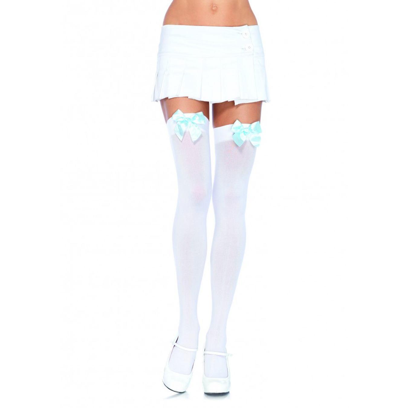 c225eb57a Sheer Opaque Thigh Highs Satin Bow Stockings School Nylons Lingerie  Halloween