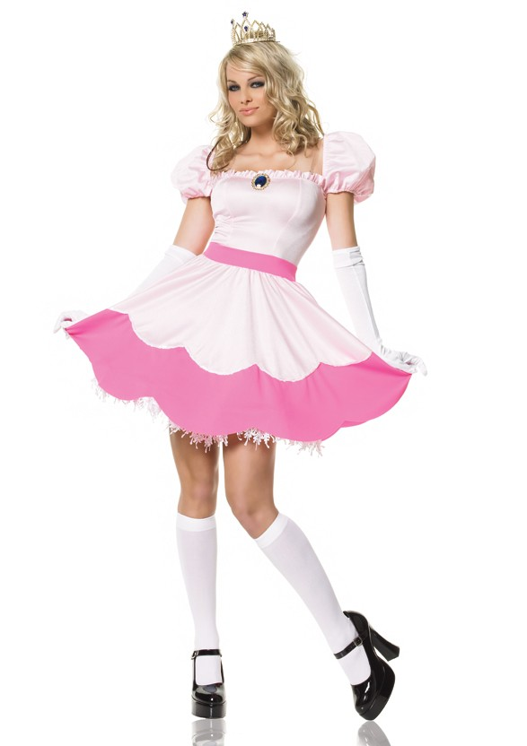 Leg Avenue Pink Princess Peach Toadstool Womenu0027s Costume  sc 1 st  eBay & Princess Peach Mario Halloween Costume Adult Womens Halloween Pink ...