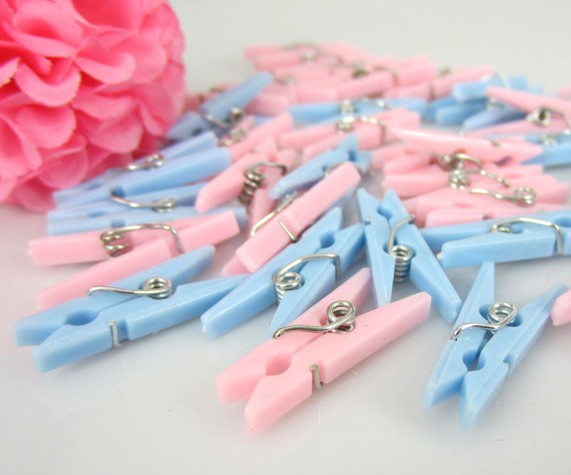 Small Clothes Pins Baby Shower Clothespin Favors Pink Girl Blue Boy