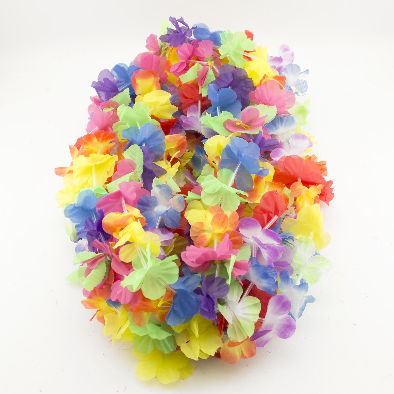 Simulated Silk Flower Leis Necklace Luau Hawaiian Theme Beach Party