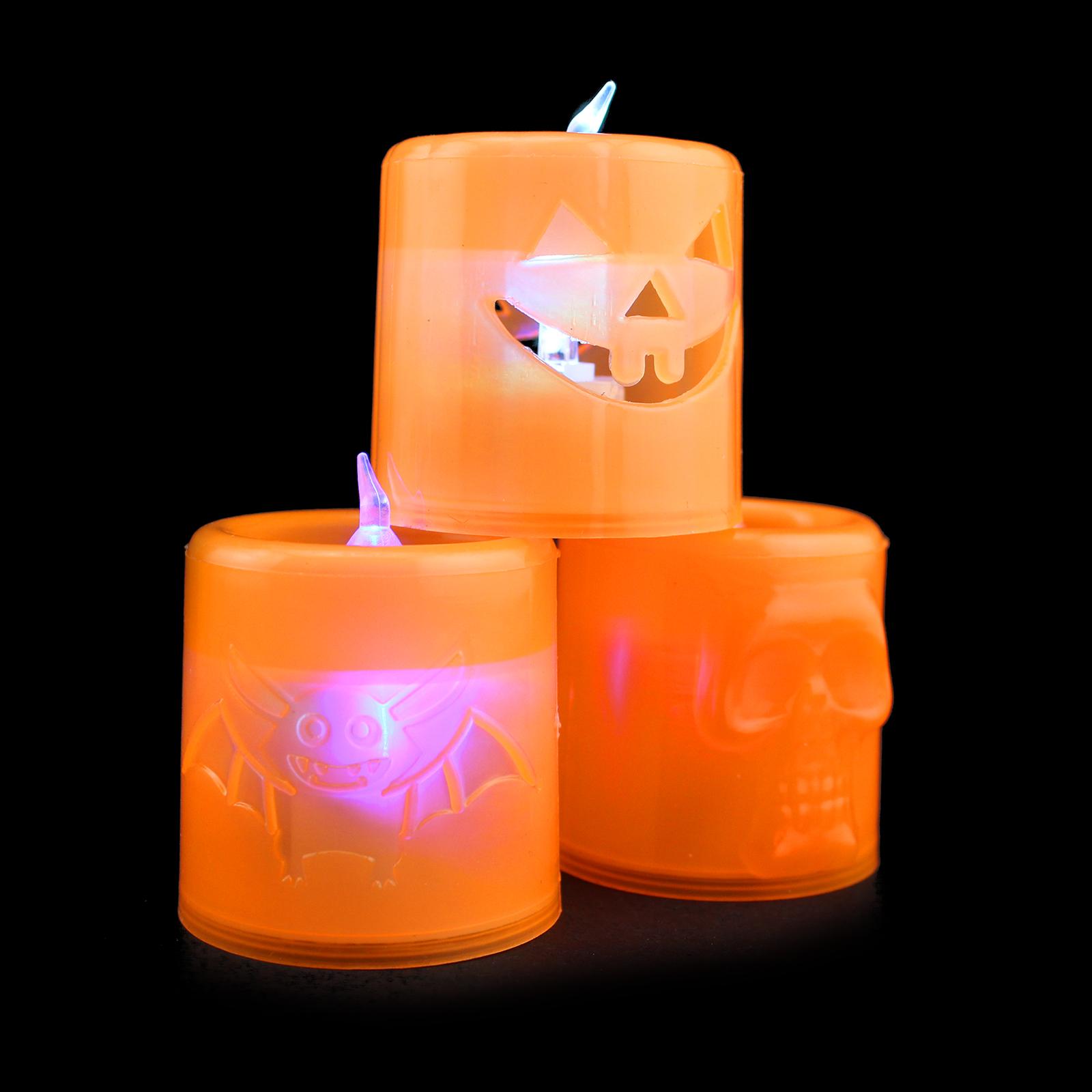 halloween light up battery pumpkin, bat, skull flameless candles