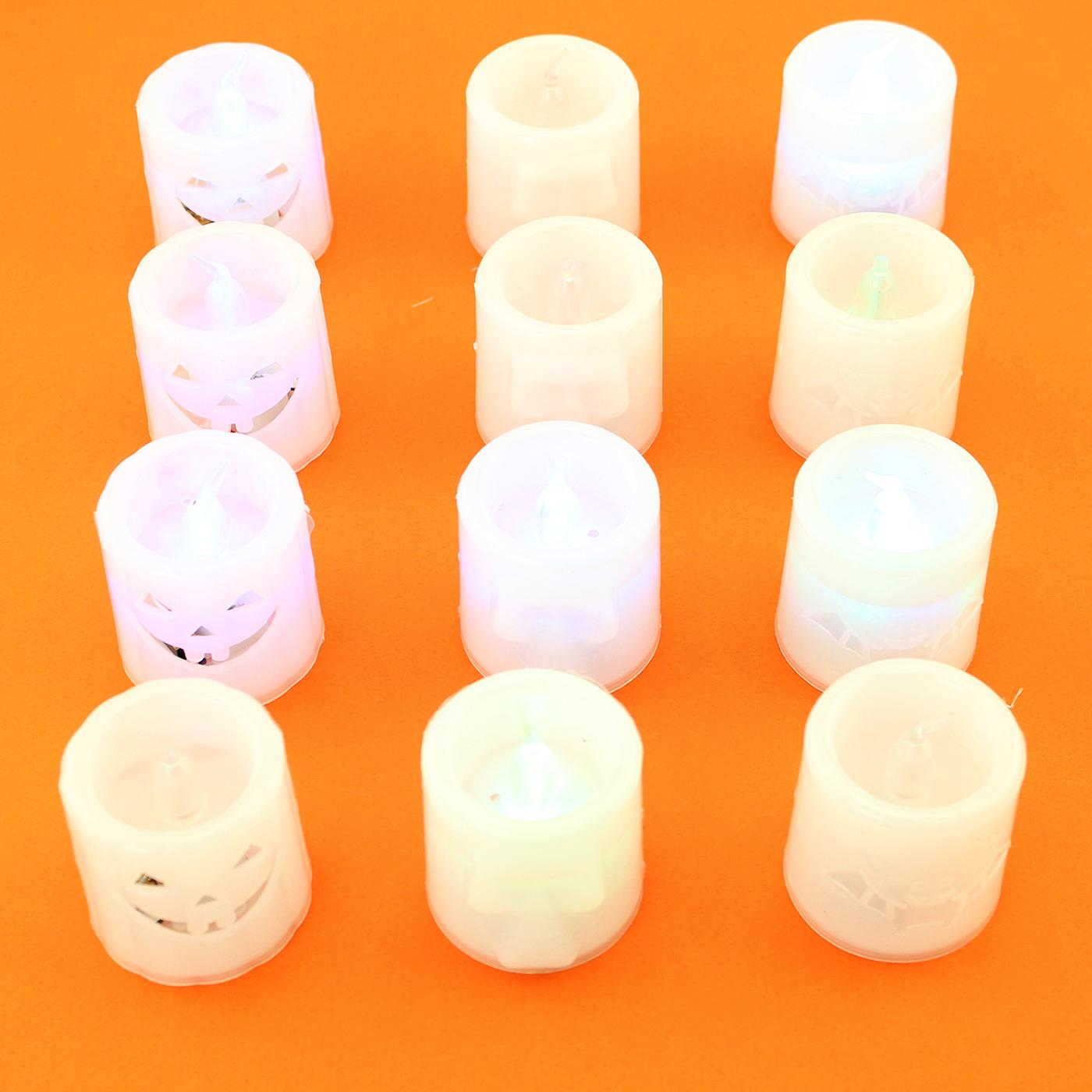 light up battery flameless candles halloween pumpkin, bat, skull