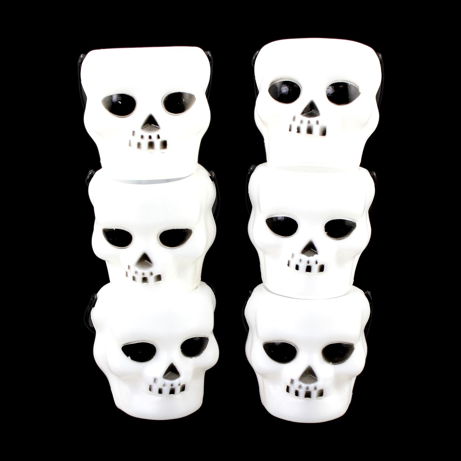 Halloween Mini White Plastic Skull Candy Buckets 6pc