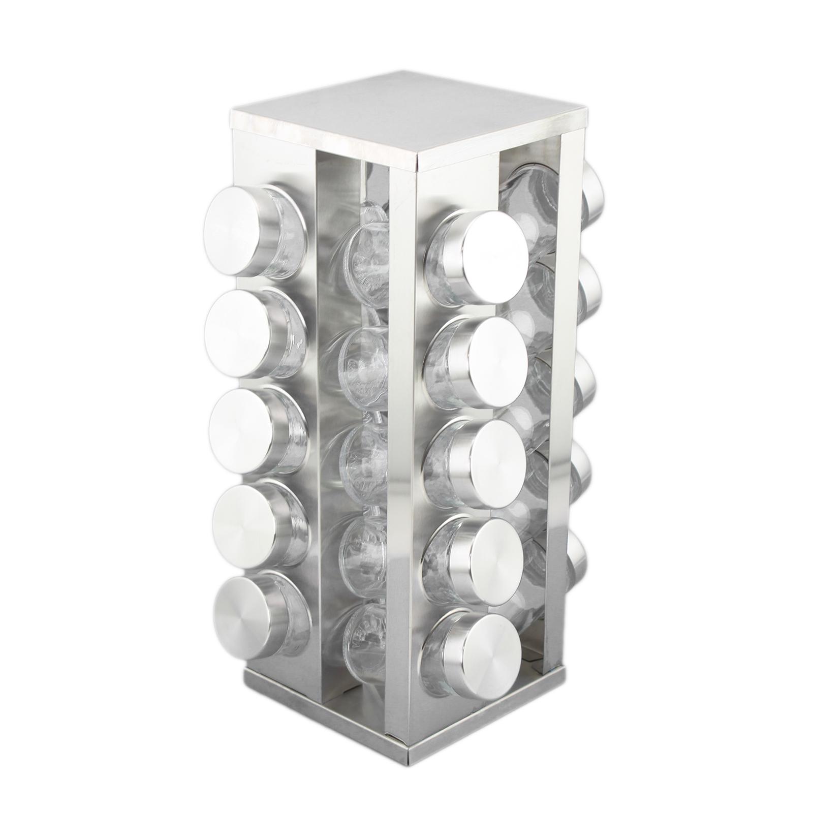 Square revolving stainless steel spice tower rack carousel set