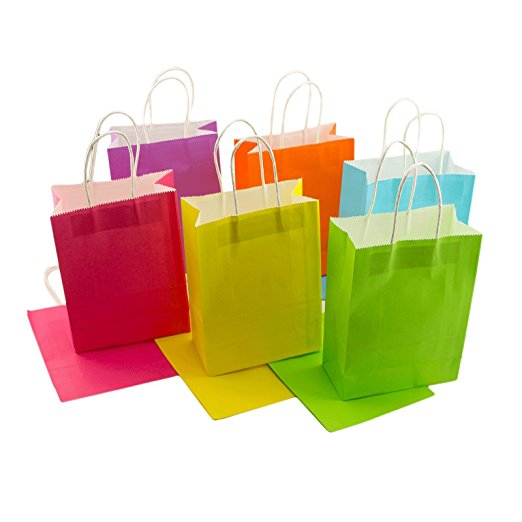 Assorted Matte Solid Color Kraft Paper Gift Bags With White Handles
