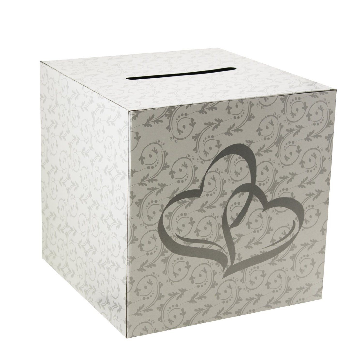 White Silver Hearts Wedding Paper Money Box Reception Wishing Wells