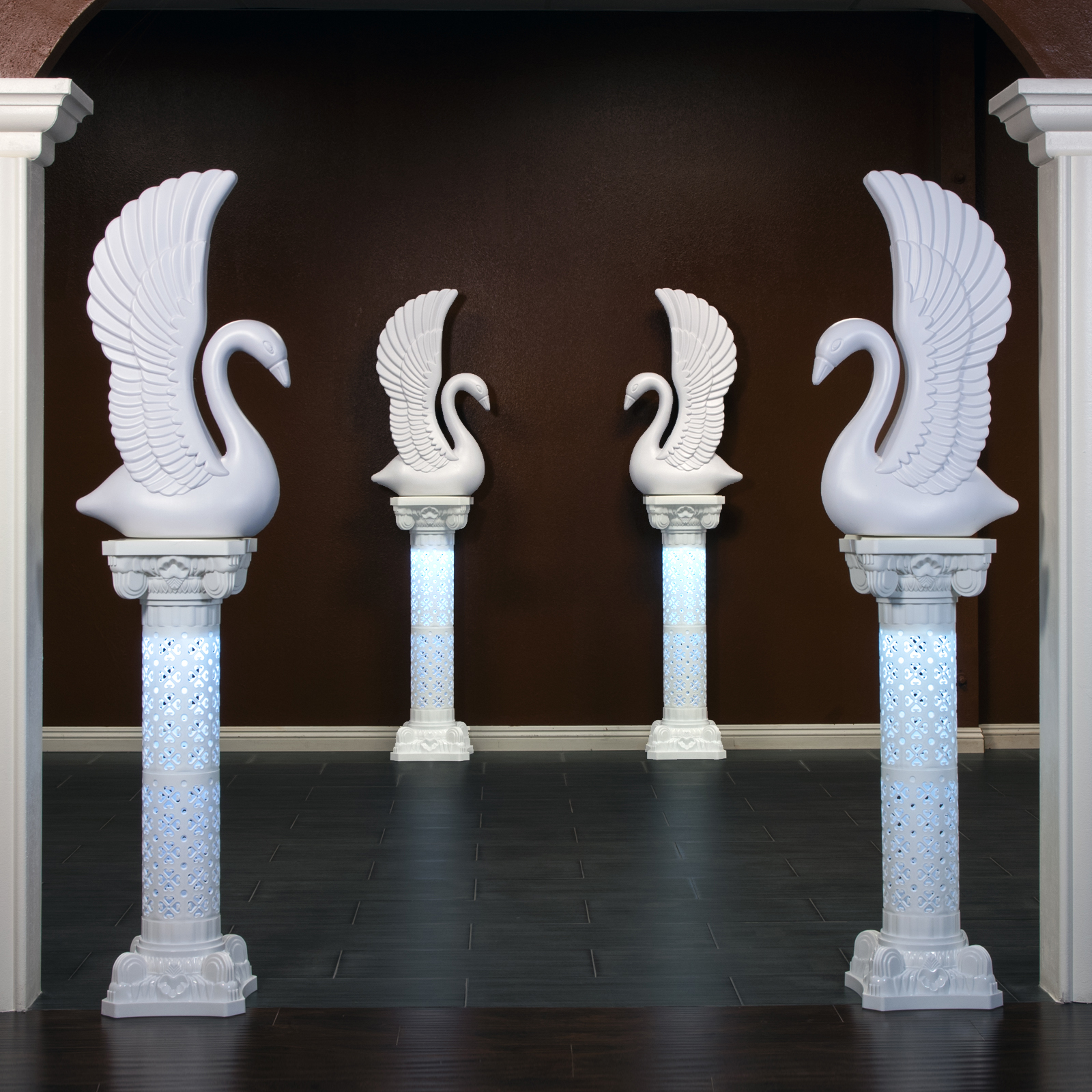 Elegant White Plastic Swans And Roman Wedding Columns