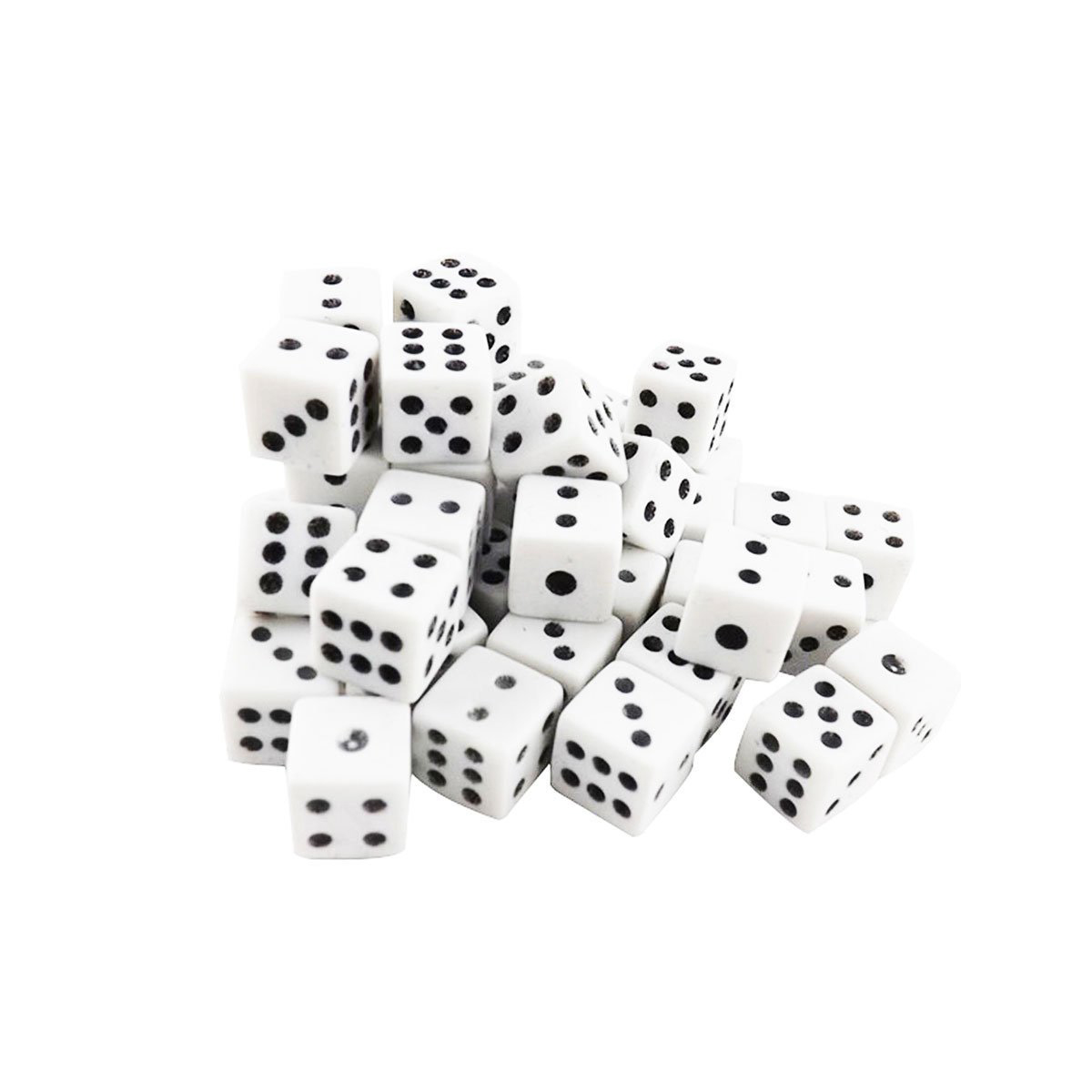 White Opaque Black Pips Dots Square Dice Set Casino Party Favors ...