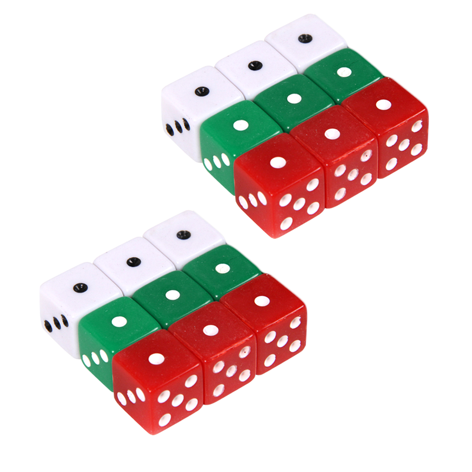 Red White Green Opaque Square Dice Black Dots Casino Board Games ...