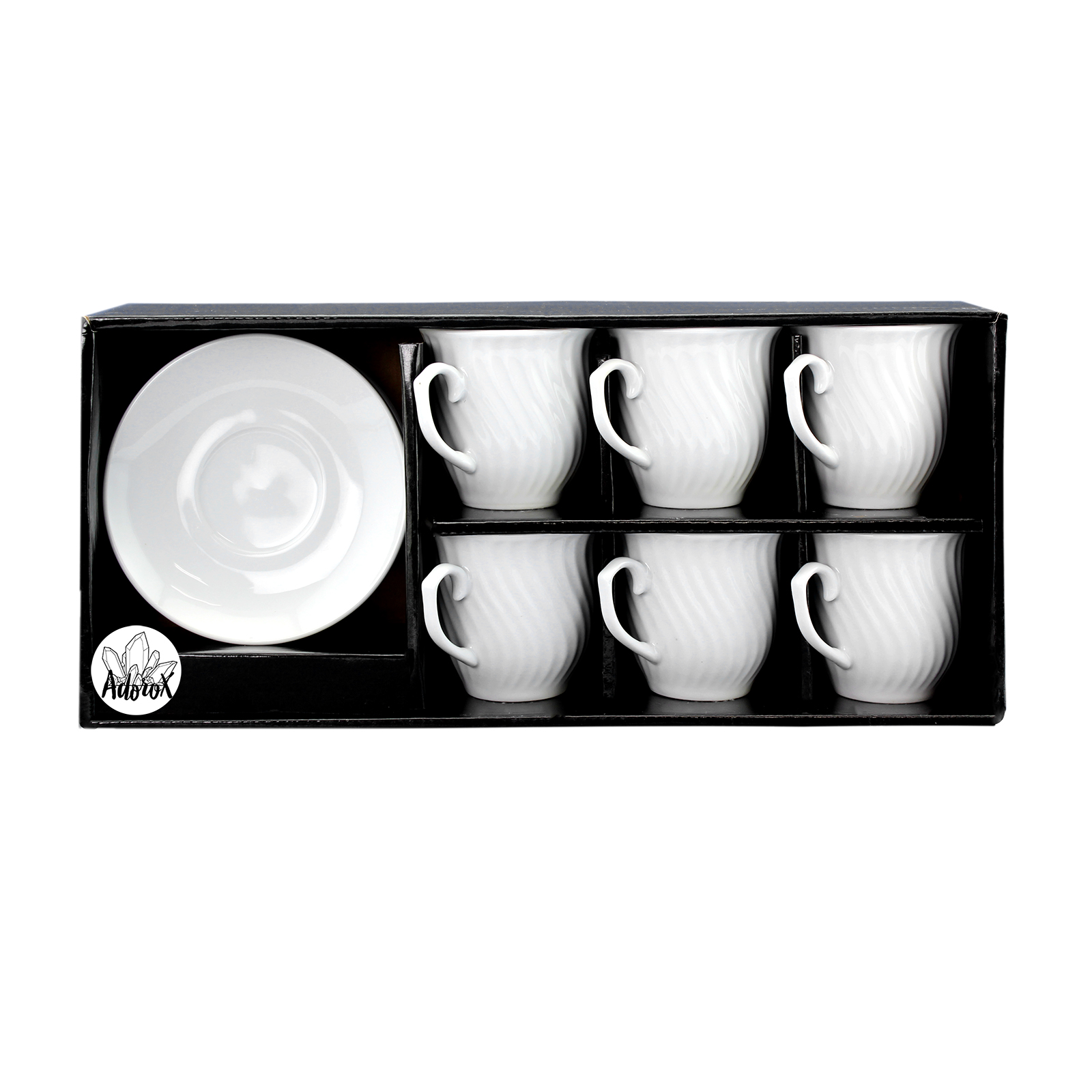 Set of 6 White Porcelain Curved Ribbed Vintage Cups and ...
