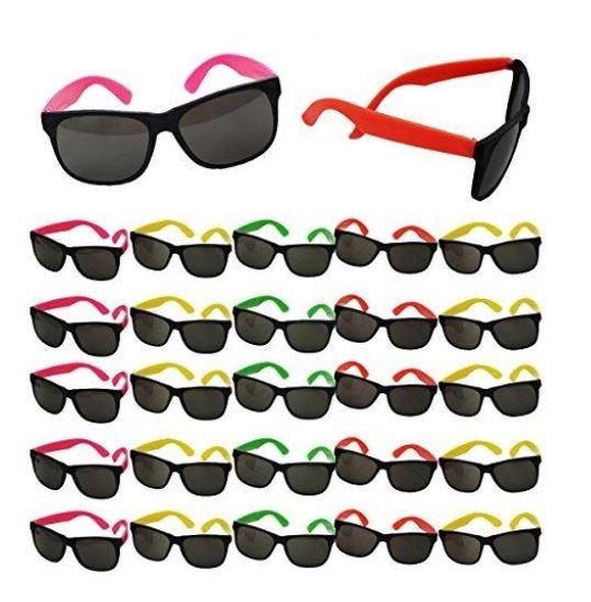 6de0a60edf828 Neon Assorted Childs Sunglasses 80s Party Costume Retro Accessories ...