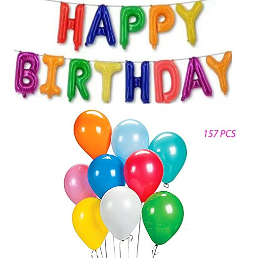 Happy Birthday Colorful Mylar Letter Balloon Banner Bundle 144 Pcs Party Balloons