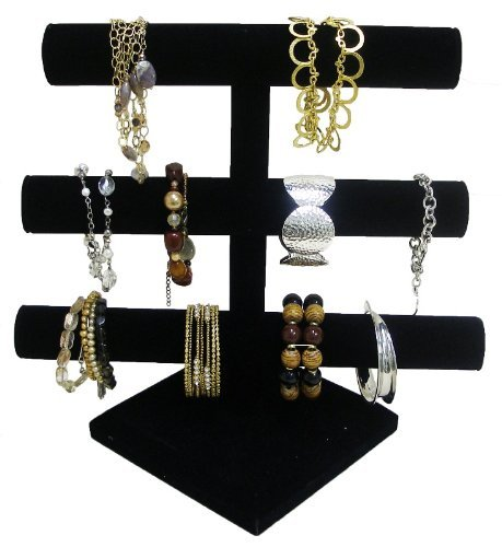 3 Tier Jewelry Bracelet Organizer Display Holder Stand Necklace Box Velvet Case