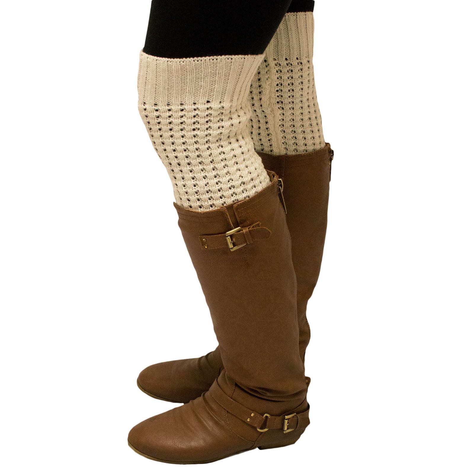 Women/'s Gray Layered Chevron Stripe Knitted Pattern Winter Boot Leg Warmers