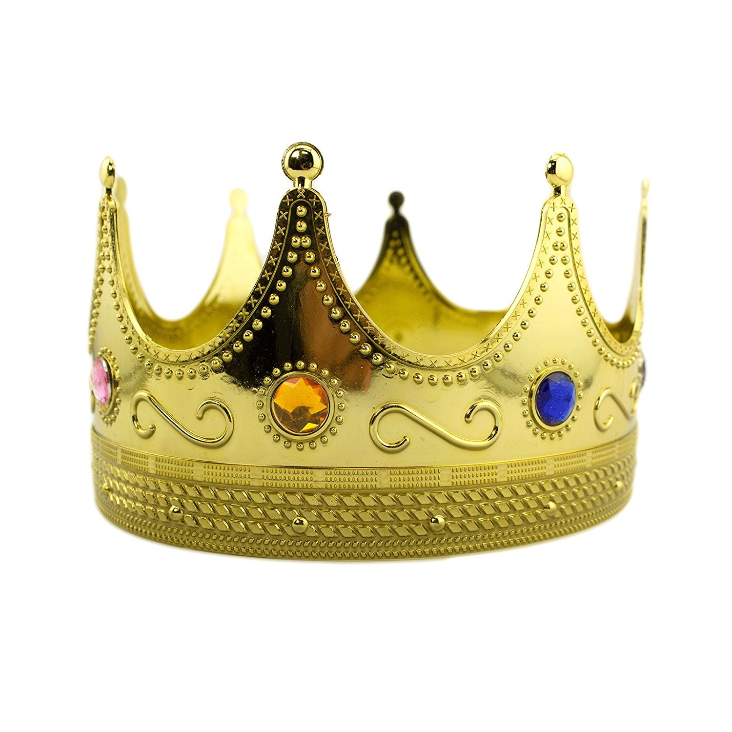 regal gold plastic king crown with jewels queen prince