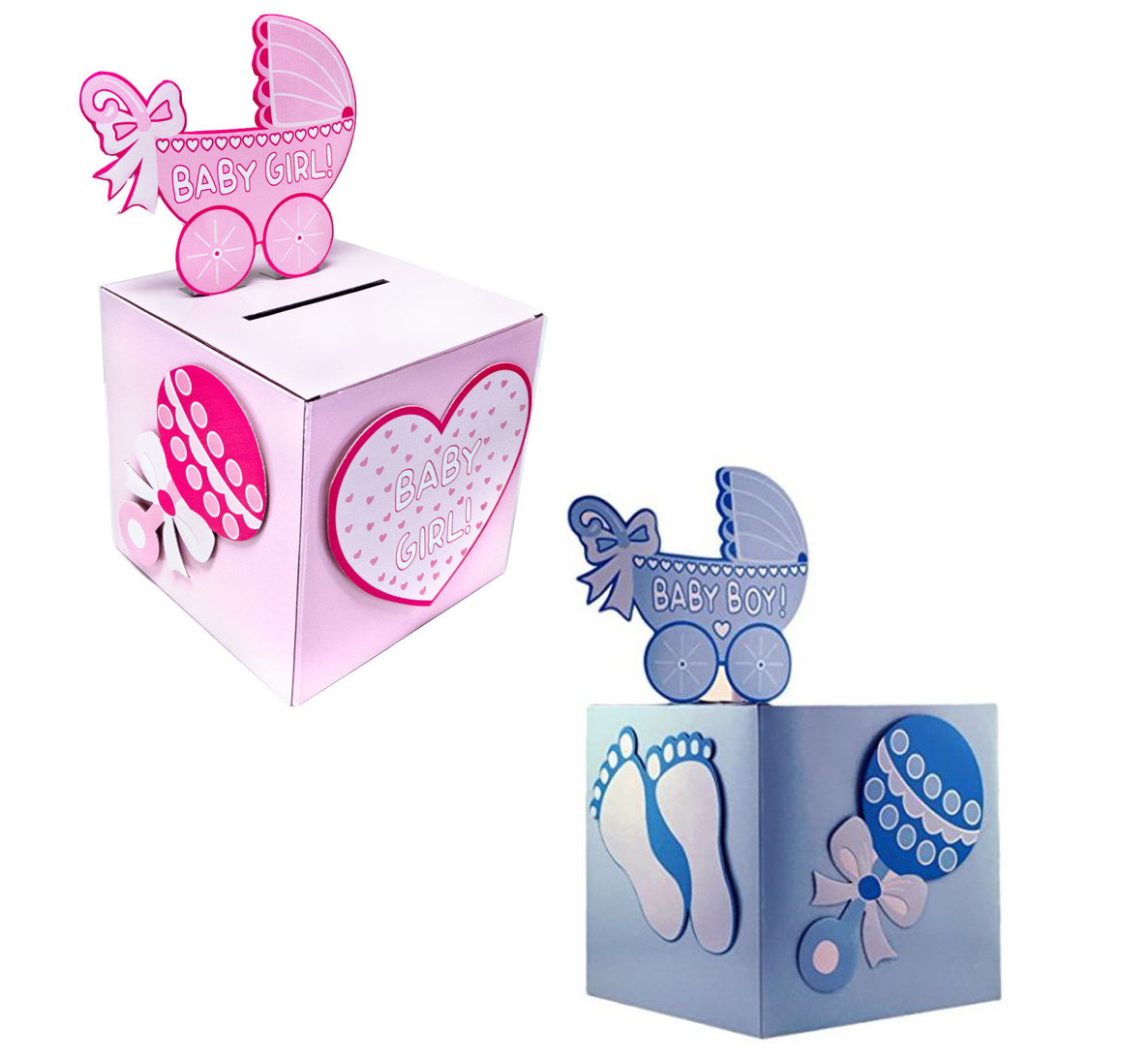 Baby Shower Wishing Well Card Box Decoration Keepsake Carriage