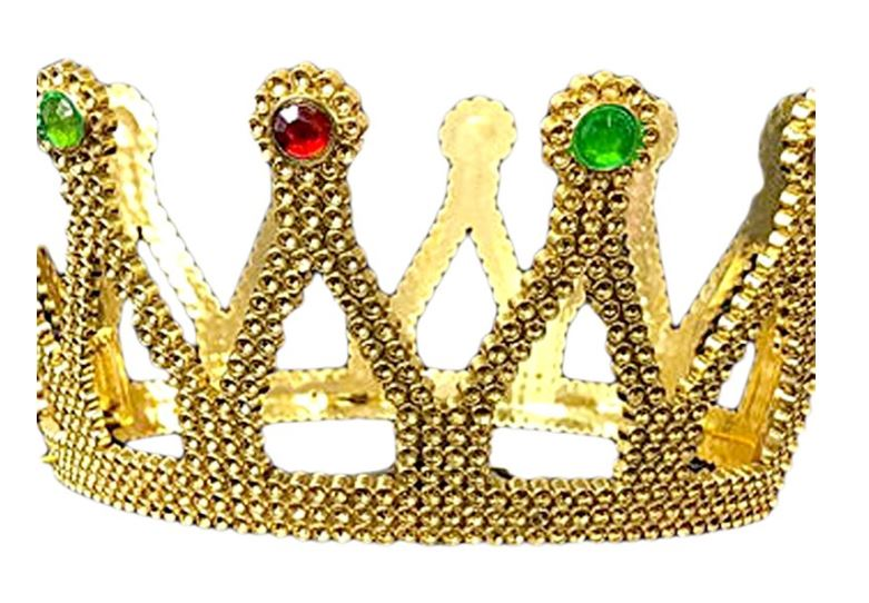 Royalty Gold Plastic King Queen Crown With Jewels 3 Wise Men Costume Accessory