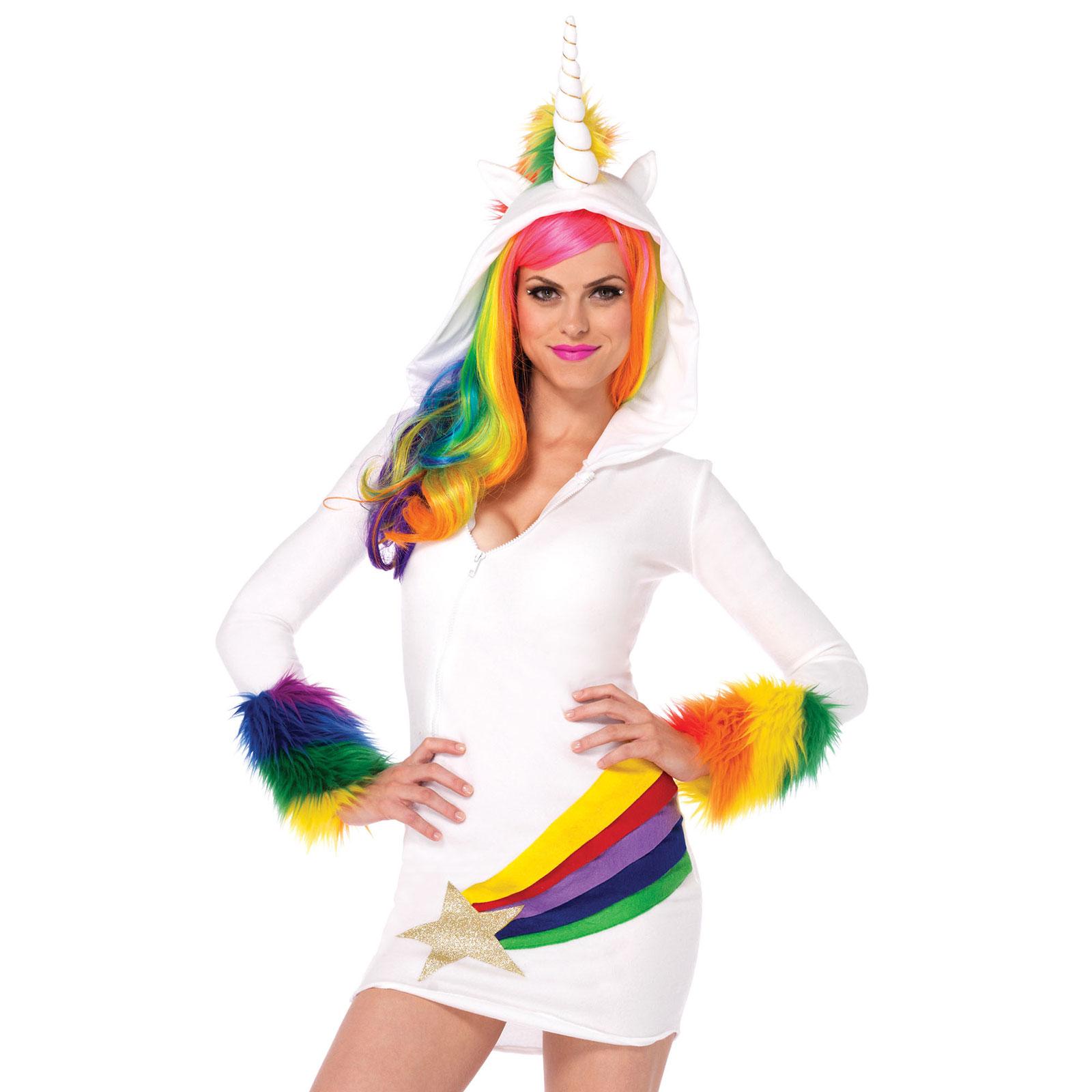 cozy rainbow unicorn zip front fleece dress halloween costume outfit adult women
