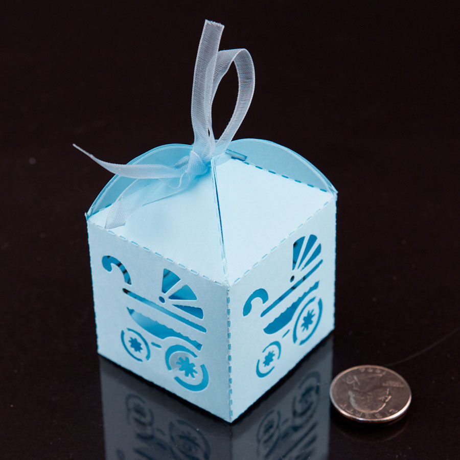 Blue Baby Carriage Favor Candy Box Party Baby Shower Decorations 24pcs