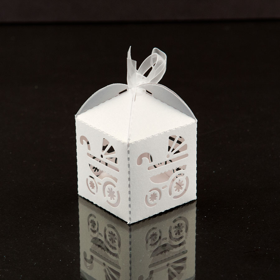 White Baby Carriage Favor Candy Box Party Baby Shower Decorations 24pcs