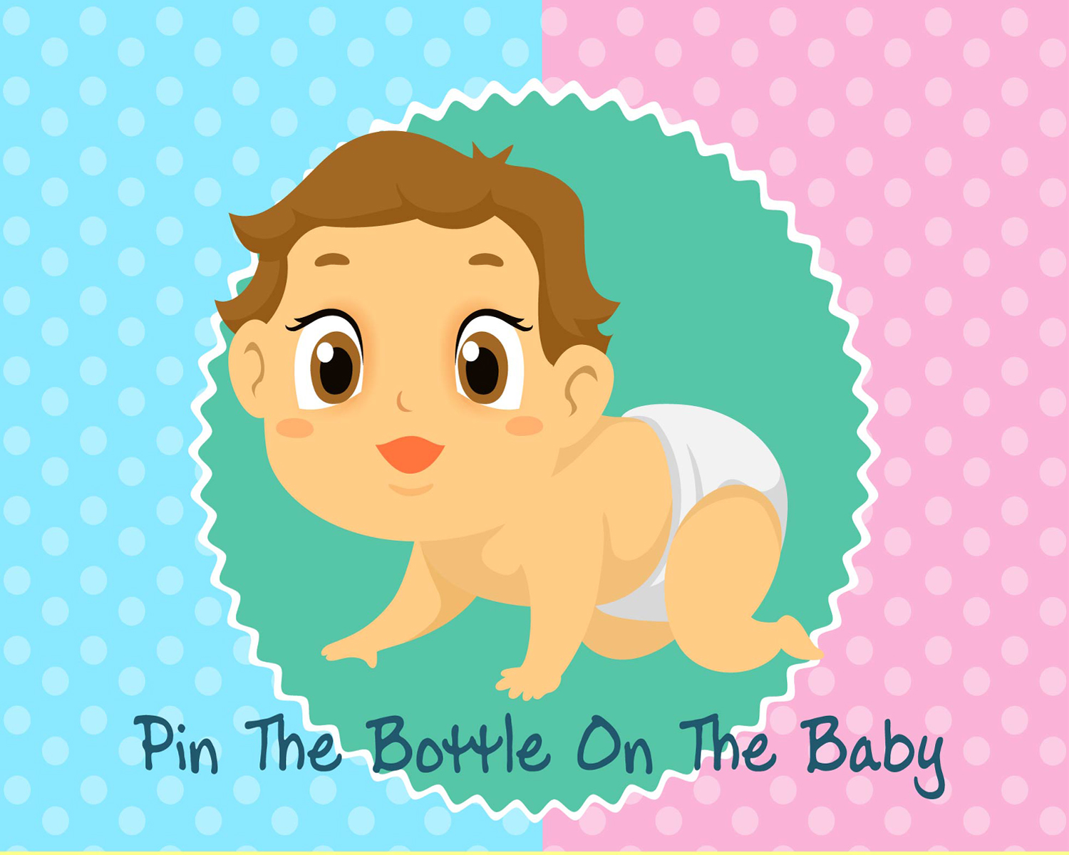 Baby Shower Game PIN THE BOTTLE ON THE BABY Party Fun Blindfold Baby Poster