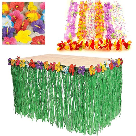 Details About Hawaiian Luau Party Decoration Bundle Party Pack Leis Flowers Grass Hula Skirt