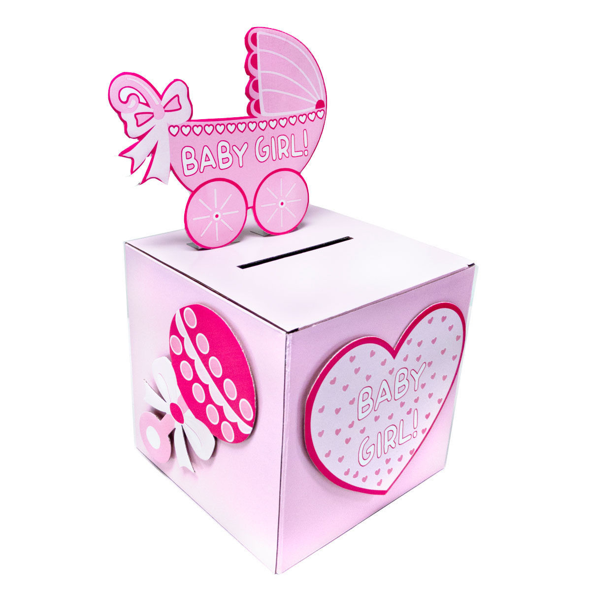 Details About Baby Shower Wishing Well Card Gift Money Box Pink Girl Blue Boy
