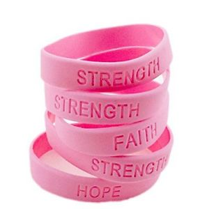 Image Is Loading 48pc Pink Ribbon T Cancer Awareness Bracelets Survivor