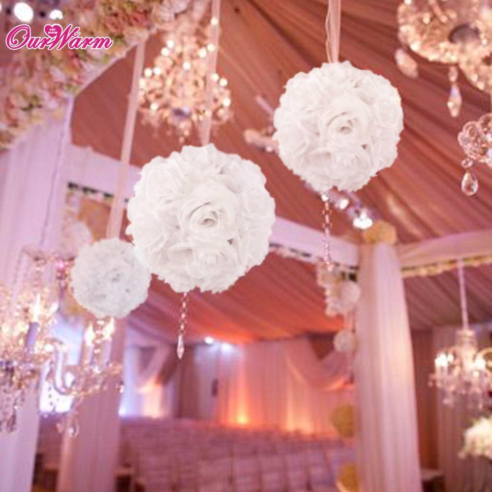 White Rose Flower Kissing Ball Wedding Venue Decorations Rose Petals ...