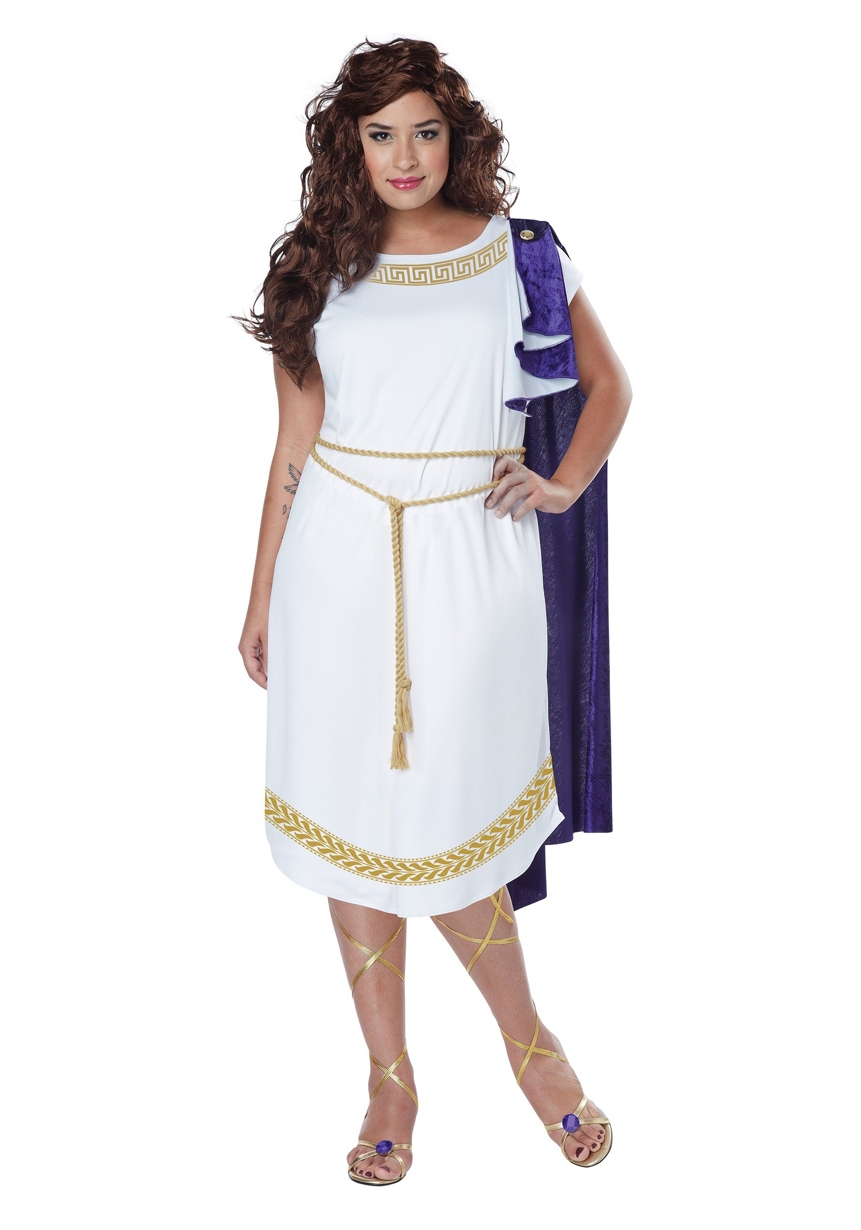plus halloween women's grecian toga white dress greek goddess adult